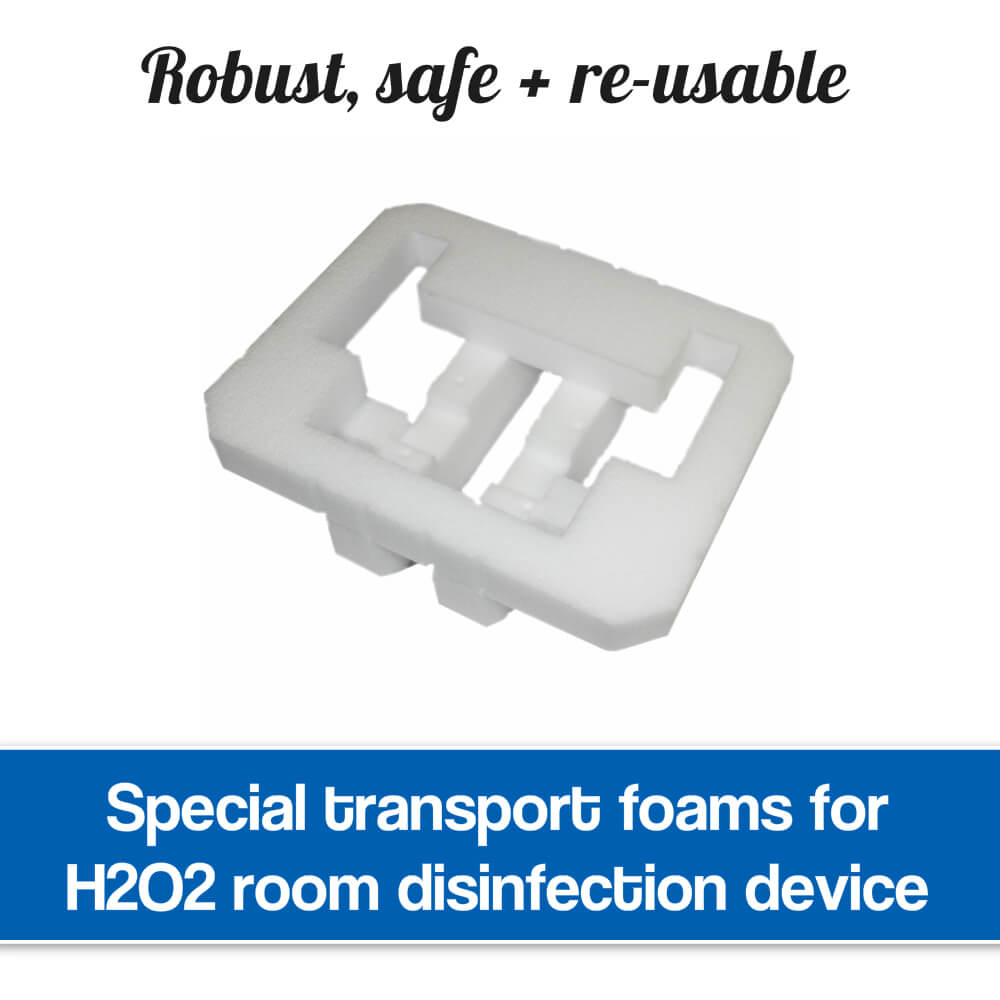 Disinfection device transport foams