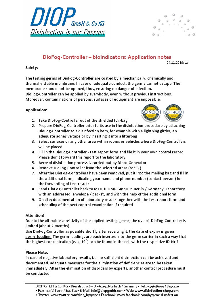 Disinfection validation bacteria bioindicators application