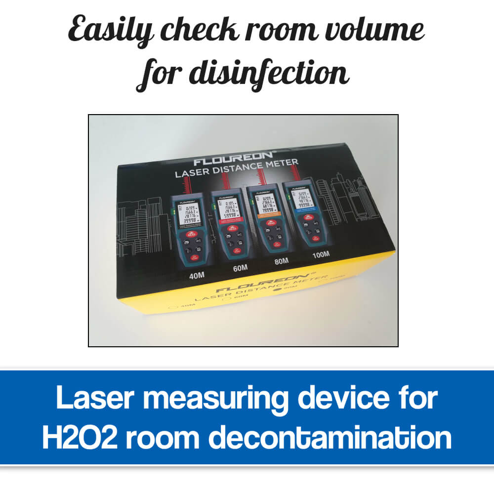 Laser measuring device for disinfection