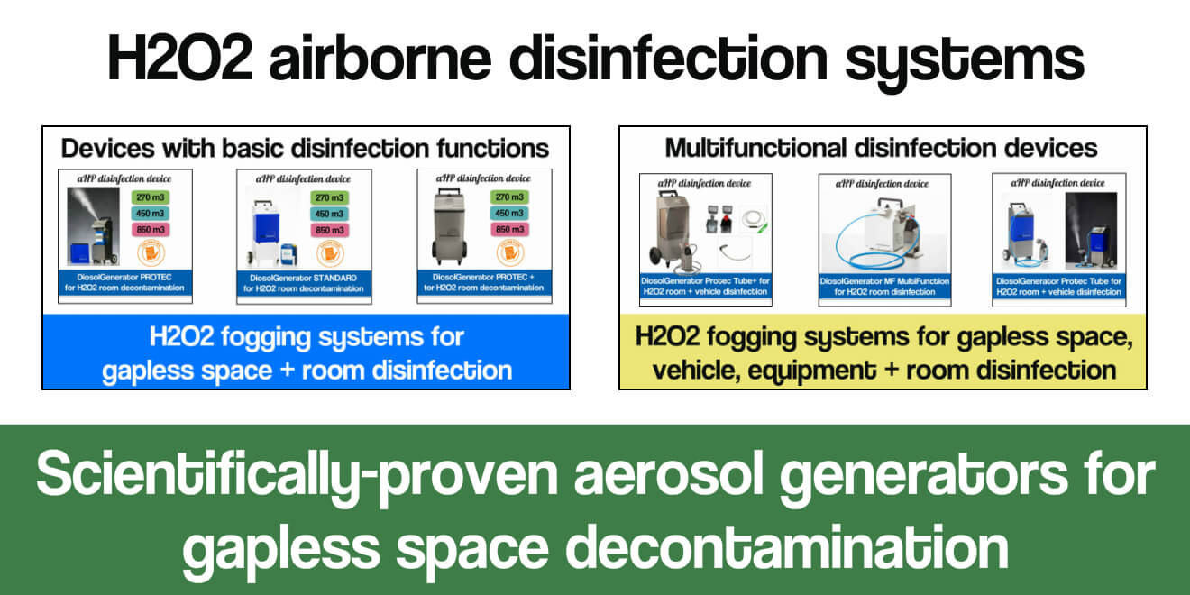 Airborne disinfection of surfaces